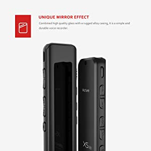 Victure Digital Voice Recorder 8GB Memory USB 1536kbps Beautiful Full Mirror Design Voice Recorder with MP3 Player, Built-in Microphone, Rechargeable Batteries