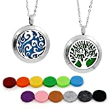 2PCS Aromatherapy Essential Oil Diffuser Necklace TWO PATTERNS Pendant Locket Jewelry,24