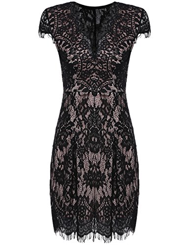 ROMWE Women's Gorgeous V neck A Line Sexy Short Cap Sleeve Lace Dress Black L