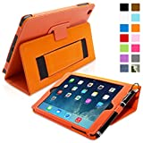 Snugg iPad Mini & Mini 2 Case - Smart Cover with Flip Stand & Lifetime Guarantee (Orange Leather) for Apple iPad Mini & Mini 2 with Retina