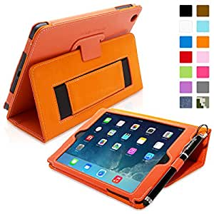 Snugg® iPad Mini & Mini 2 Case - Smart Cover with Flip Stand & Lifetime Guarantee (Orange Leather) for Apple iPad Mini & Mini 2 with Retina