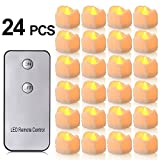 LED Flameless Candles with Remote Control, PChero Battery-Powered Yellow Flickering Tea Lights, Looks Like Real Wax Candle, Last up to 48 Hours, Perfect for Wedding Parties Home Decorations - [24pcs]
