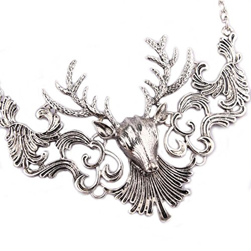 Kaariag Punkin™ Gold-Tone Vintage Style Christmas Reindeer Statement Necklace