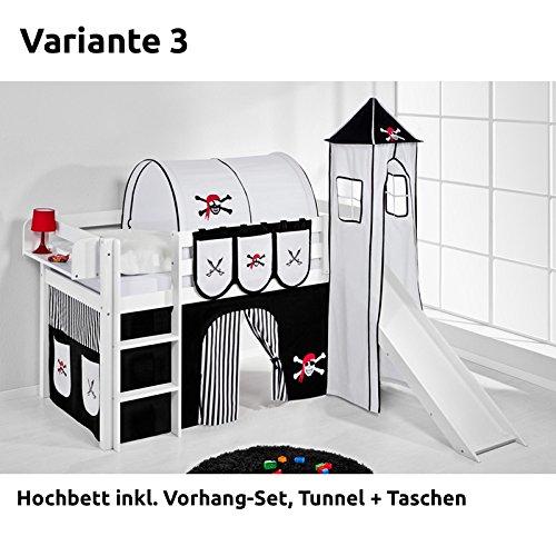 Hochbett Spielbett JELLE Pirat Schwarz Weiß mit Turm, Rutsche und Vorhang, weiß, Variante 3 günstig online kaufen
