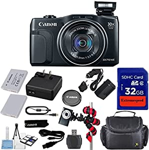 Canon Powershot SX710 HS 20.3MP Camera with 32GB Accessory Bundle + Extra Replacement Battery + Original Accessories + Spider Flexible Tripod + Carrying Case + 12pc Bundle - International Version