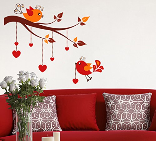 Decals Design Wall Stickers Bird Hanging Hearts On Tree Branches Design For sofa Background and Living Room Decoration Vinyl (PVC Vinyl, 60 x 45 cm, Multicolor)  available at amazon for Rs.169