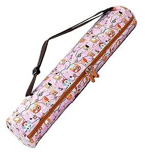 Sac «#» sunita de doYourYoga en canevas (toile), belles finitions pour tapis large tapis de yoga gymnastique et de jusqu'à une épaisseur de 186 x 63 x 0.6 cm, impression-différents designs disponibles. Muster 4 pink (Eulen)