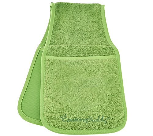 Campanelli's Cooking Buddy - Professional Grade All-In-One Pot Holder, Hand Towel, Lid Grip, Tool Caddy, and Trivet. Heat Resistant up to 500ºF! As Seen On QVC. (Spring Green) (One Pot Lid compare prices)