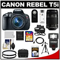 Canon EOS Rebel T5i Digital SLR Camera & EF-S 18-55mm IS STM Lens with EF-S 55-250mm IS Lens + 32GB Card + Battery + Case + Flash + Tele/Wide Lenses Kit