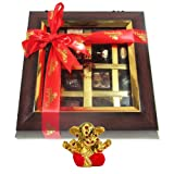 Chocholik Belgium Chocolate Gifts - Decadent Flavors In A Beautiful Wooden Box With Small Ganesha Idol - Diwali...