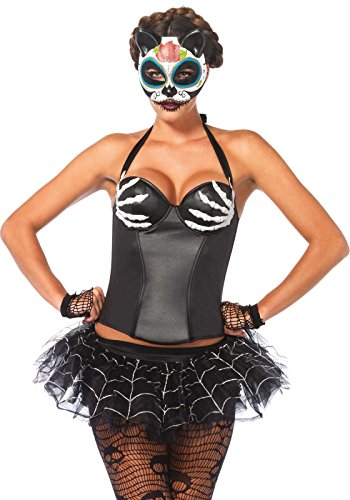 2651 - Wet Look Bügel Halter Korsett, Größe M, schwarz, Damen Karneval Kostüm Fasching