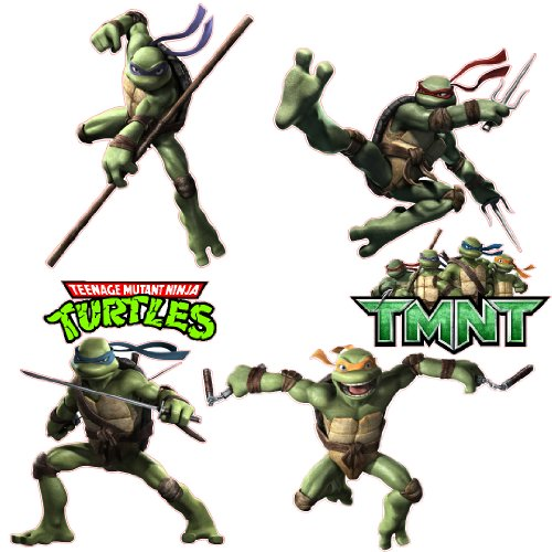 Teenage Mutant Ninja Turtles Tmnt Removable Wall Decal Stickers Set With Raphael, Donatello, Michelangelo, Leonardo And 2 Free Logos front-1008617