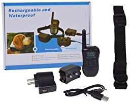 GHP Pack of 3 Rechargeable 300 Yard 100 Level Shock Vibra Remote LCD Dog Training Collar