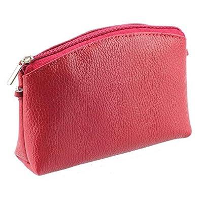 Deux en Un / Trousse de toilette - petit sac à bandoulière en cuir grainé ROUGE N1606 Achat / Cadeau utile