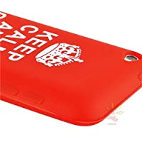 """Everydaysource Red with """"Keep Calm And Carry On""""Quote Silicone Skin Case compatible with Apple iPod touch 4th Gen by Everydaysource"""
