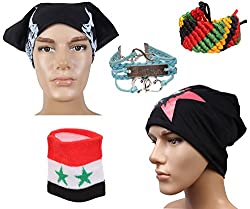 Sushito Black Bob Marley Beanies Cap With Stylish Headwrap & Wrist Band
