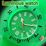 GLOW-IN-THE-DARK 43mm UNISEX SILICONE WATCH WITH DATE AND LUMINOUS SILICONE STRAP (GREEN)