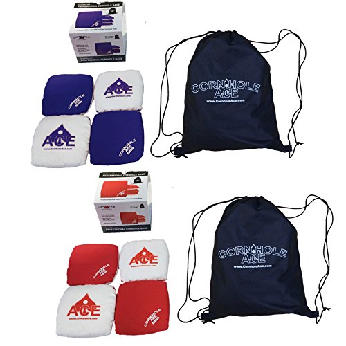 Professional All Weather Cornhole Bags (Includes 4 Red Bags, 4 Blue Bags & 2 Tote Bags) (Micro Bag Toss compare prices)