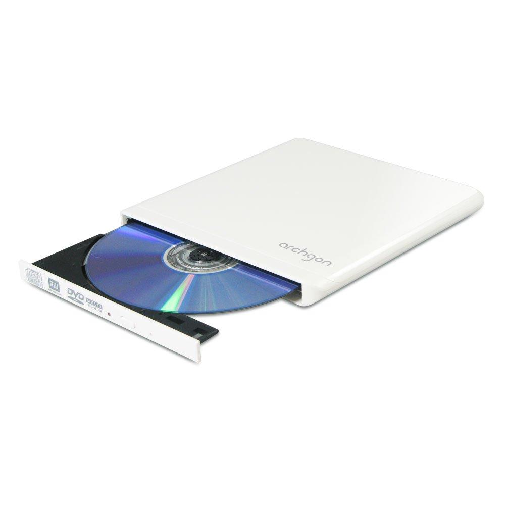 Archgon Ultra Slim Portable DVD+/-RW External Drive, White MD-9102 usb 3 0 blu ray drive external dvd rw optical drive combo cd dvd bd rom 3d player super drive for laptop apple macbook pc driv