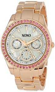 XOXO Women's XO5298A Rhinestone Accent Rose Gold Bracelet Watch