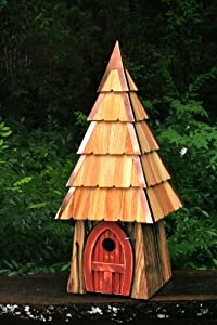 Storybook Hobbit Bird House with Redwood Stained Door, Handcrafted in the USA