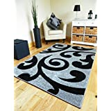 NEW SMALL MEDIUM XX LARGE MODERN BLACK AND SILVER CARVED QUALITY HALL RUNNER LIVING ROOM MAT CHEAP BEDROOM OFFICE...