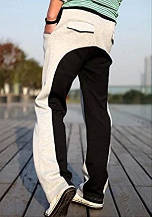 (アルファーフープ) α-HOOP メンズ ツートン カラー スウェット ジャージ ファッション パンツ M ~ XL 3 色 大人 男 性 用 3CS (07.浅灰×黒.(Mサイズ))