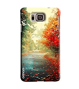 Omnam Beautiful Road Having Flowers Each Side Printed Designer Back Cover Case For Samsung Galxy Alpha
