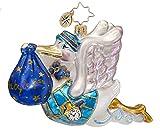 RADKO BUNDLE OF JOY Baby Boy Stork Glass Ornament