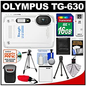 Olympus Tough TG-630 iHS Shock & Waterproof Digital Camera (White) with 16GB Card + Case + Battery + 2 Tripods + Accessory Kit