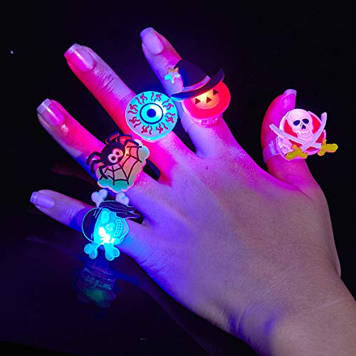 BUDI 25Pc Halloween Party Favors LED Finger Lights For Kids and Adults LED Rings with Halloween Gift Package Treats Bags Light Up Toys Rings Party Decorations Assorted Style Pack of 25