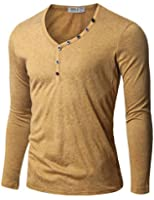 Doublju Mens Henley T-shirts with Button Placket
