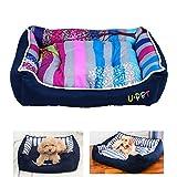Tera® ペット ベッド 犬 猫 冬 中型犬 カラフル ストライプ フラワーベッド クッション ソファ 中小型ペット用 洗える ふわふわ モコモコ 快適空間 かわいい