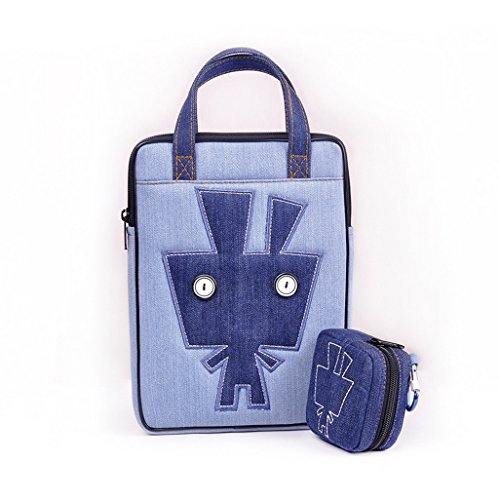 Plumemoon Denim Tablet Protective Sleeve / Portable Tablet Bag / Conveniet Tablet Insert / Soft Lining Handbag Tote For Apple Ipad Air With Mini Bag For Power Supply Gadgets, Rabbit (Size: 18 X 2.5 X 25Cm) - Denim Blue