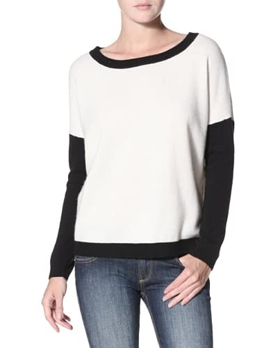 Shae Women's Cashmere Colorblock Sweater  [Warm White/Black]