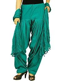 Etone Women's Regular Fit Cotton Patiala With Dupatta (P002RG, Dark Green, Freesize)