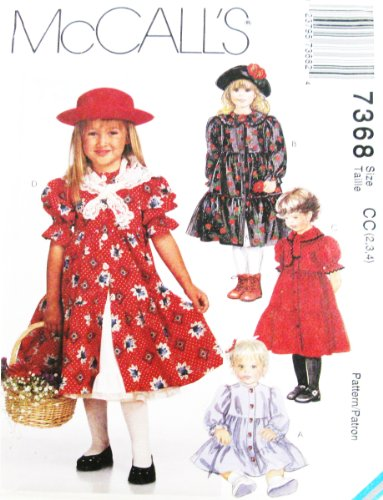 Mccall'S 7368 Sewing Pattern ~ Toddler Girls' Dress, Petticoat, & Scarf (Size 2, 3, 4,) front-941184