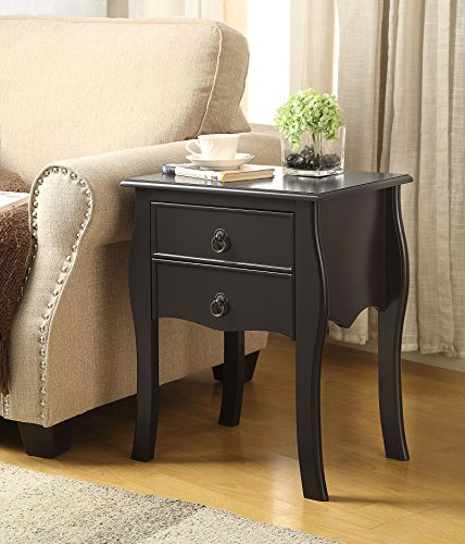 Espresso Finish Curved Legs Accent Side End Table Nighstand with Two Drawer (Side Table Espresso Curved Legs compare prices)