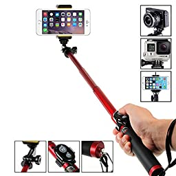 Selfie Stick, Amorus Aluminium Alloy Pocket Extendable Wireless Bluetooth Selfie Stick Monopod Tripod for iPhone 6/6 Plus,Samsung Galaxy S6/S6 Edge/Note 4,Gopro Hero/Hero3/Hero3+/Hero4/Hero4 Session, Digital Cameras and Oher Smartphones (Red)