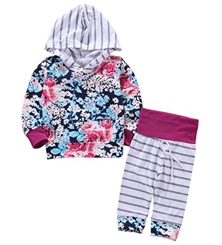 Newborn Baby Girls Floral Hoodie Top + Pants Outfits Set Kids Clothes (12-18M, Floral)