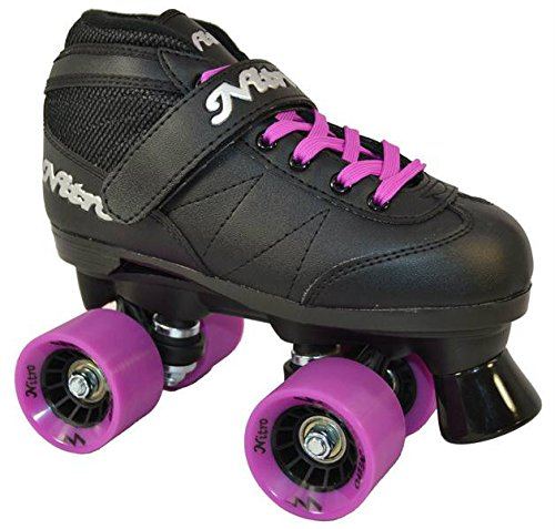 Best Buy! New Epic Super Nitro Black & Purple Indoor / Outdoor Quad Roller Speed Skates