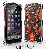耐衝撃iphone6 iphone6 plus ケース アルミ 金属合金カバー iphone6s iphone6s plusアルミバンパー メタルケースカバー 組み立て式 (iphone6/6s, 黒+オレンジ)
