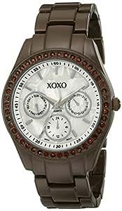 XOXO Women's XO5300A Rhinestone Accent Brown Enamel Bracelet Watch
