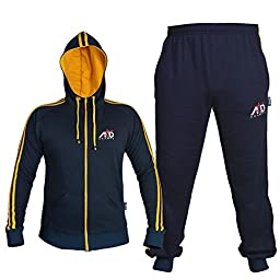 4fit Mens Fleece Track Suit with Hoodie & Bottoms (XL, Navy Blue)
