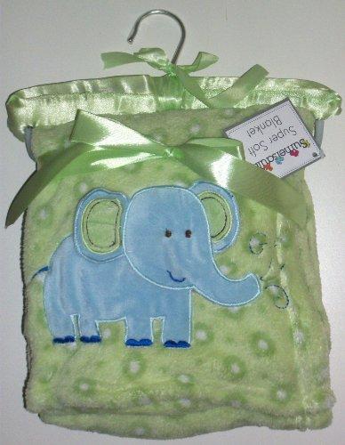Sumersault Super Soft Elephant Blanket, Sage - 1
