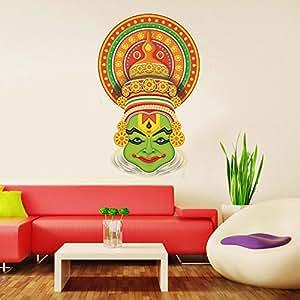 Decals Design 'Traditional Kathakali Dancer Face' Wall Sticker (PVC Vinyl, 70 cm x 50 cm)