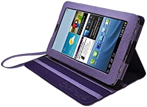 CrazyOnDigital Purple Stand Leather Case with Charger and Screen Protector For Samsung Galaxy Tab 2 7.0 (6-item)