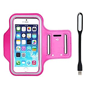 New Hot (5.5) Arm Band Workout Cover Sport Gym Case For LG G4 Dual Sim With USB Led Light