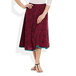 Womens Apparels Cotton Printed Medium Length Skirt A-Line, Medium,W-CMLSM-3018