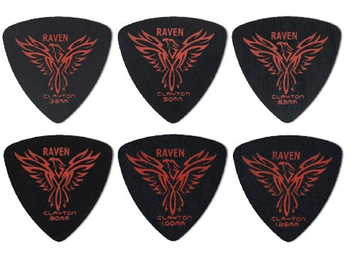 Clayton Black Raven Guitar Picks (Select from gauges .38mm - 1.26mm)